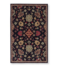 Floral Wool Tufted Rug, Navy