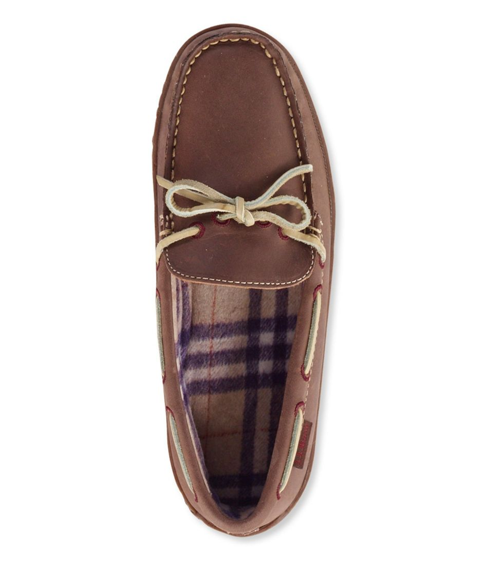 Handsewn Leather Slippers, Flannel-Lined
