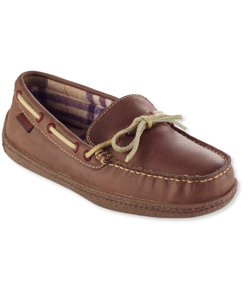 Women's Handsewn Leather Slippers, Flannel-Lined