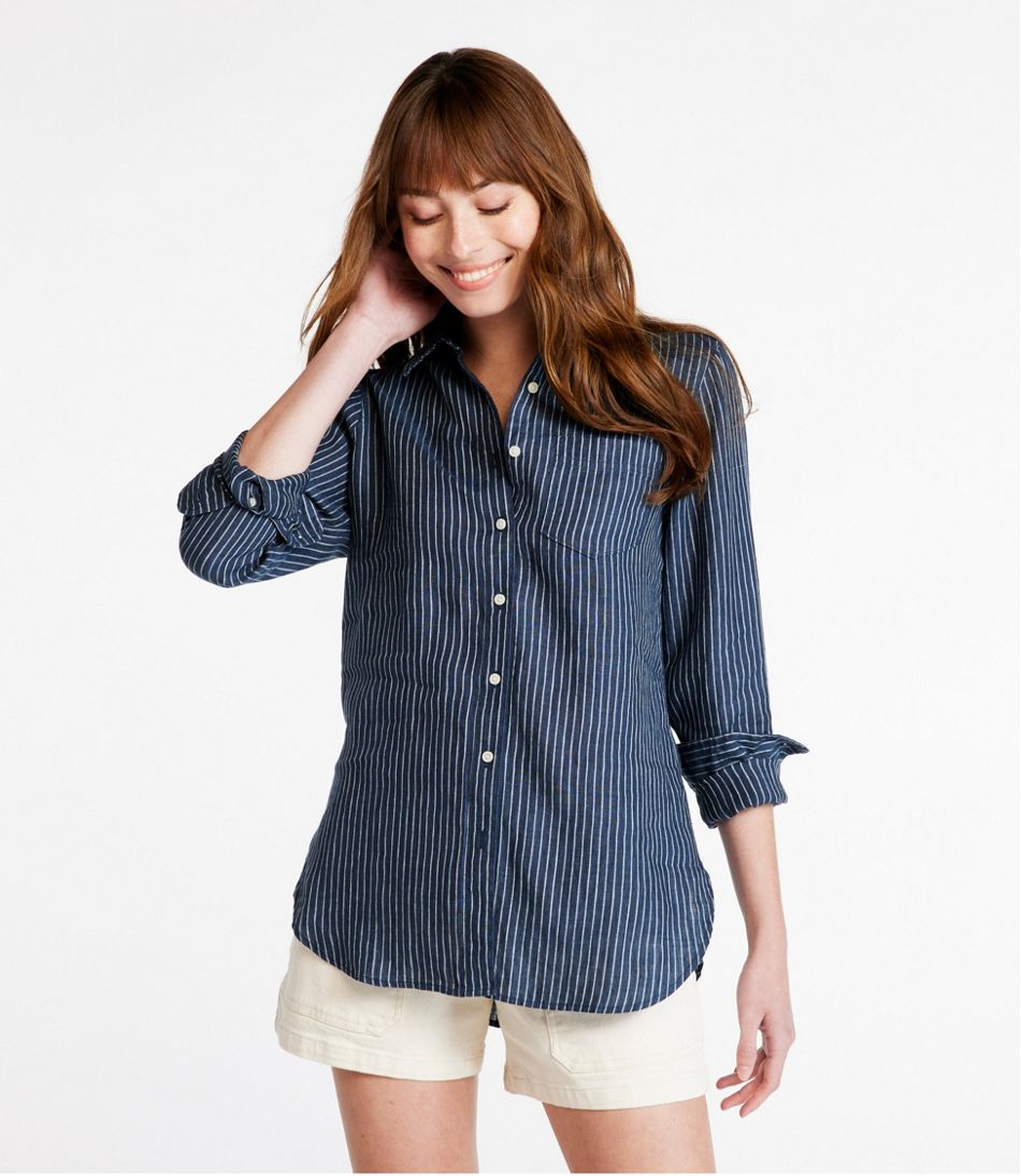 5d3ea790 Women's Premium Washable Linen Shirt, Tunic Stripe
