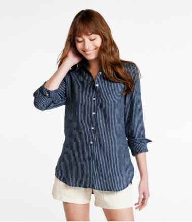 Premium Washable Linen Shirt, Tunic Stripe