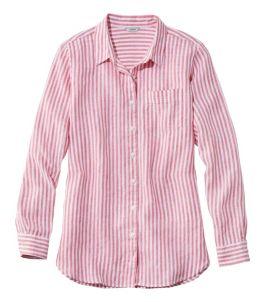 Women's Premium Washable Linen Shirt, Tunic Stripe