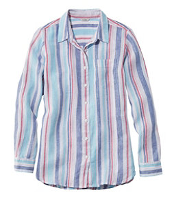 Women's Premium Washable Linen Shirt, Tunic Stripe