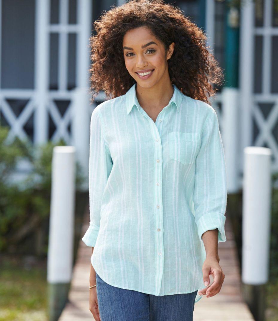 Premium Washable Linen Shirt Tunic Stripe Torch Tunik Women Blue Black Navy Xl Sold Out