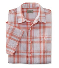 Linen/Cotton Shirt, Slightly Fitted Short-Sleeve Plaid