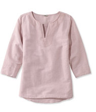 Embroidered Linen/Cotton Popover, Three-Quarter-Sleeve