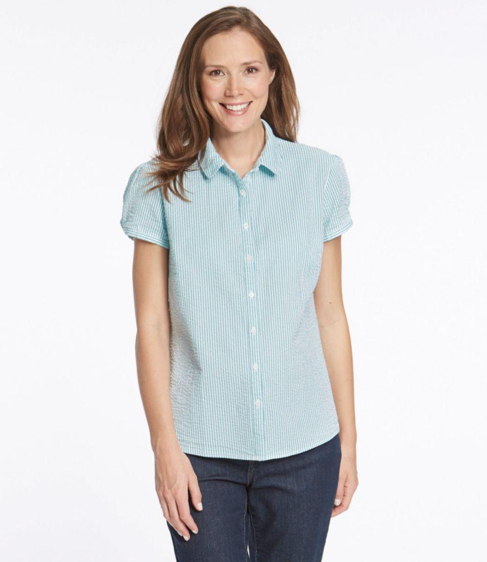 Essential Seersucker Shirt, Button-Front Short-Sleeve Stripe