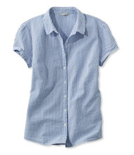 Women's Essential Seersucker Shirt, Button-Front Short-Sleeve Stripe