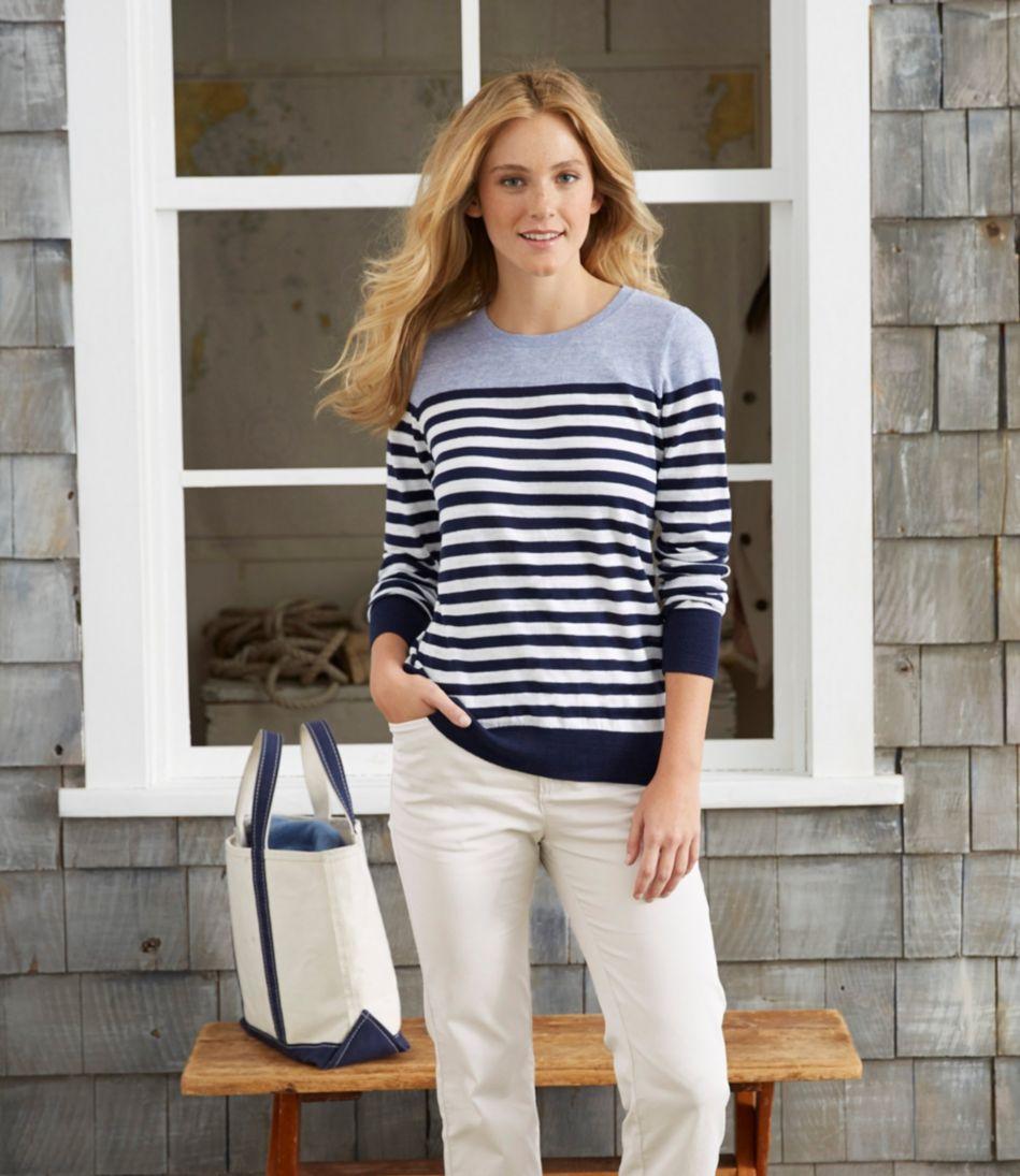 Cotton Slub Sweater, Pullover Stripe