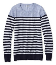 Cotton Slub Sweater, Pullover Stripe