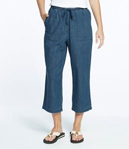 Women's Sunwashed Cropped Pants, Denim