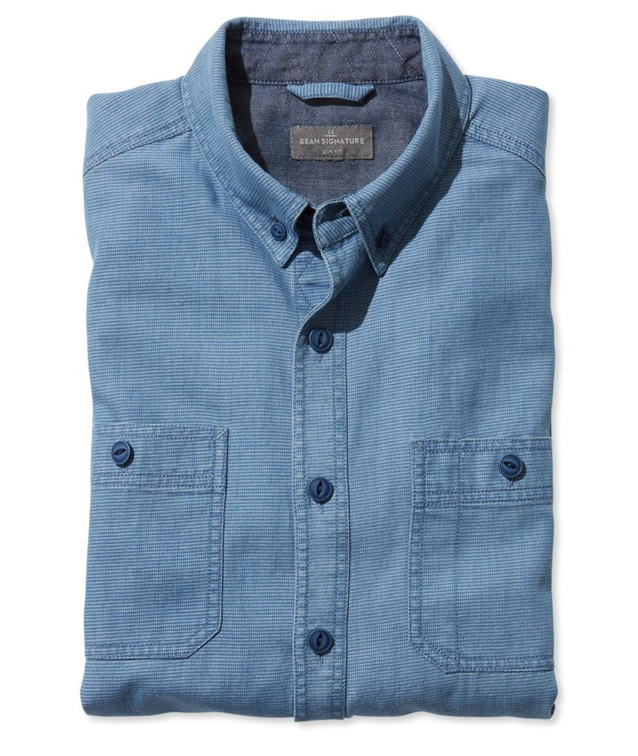Signature Indigo Cotton/Linen Sport Shirt, Stripe