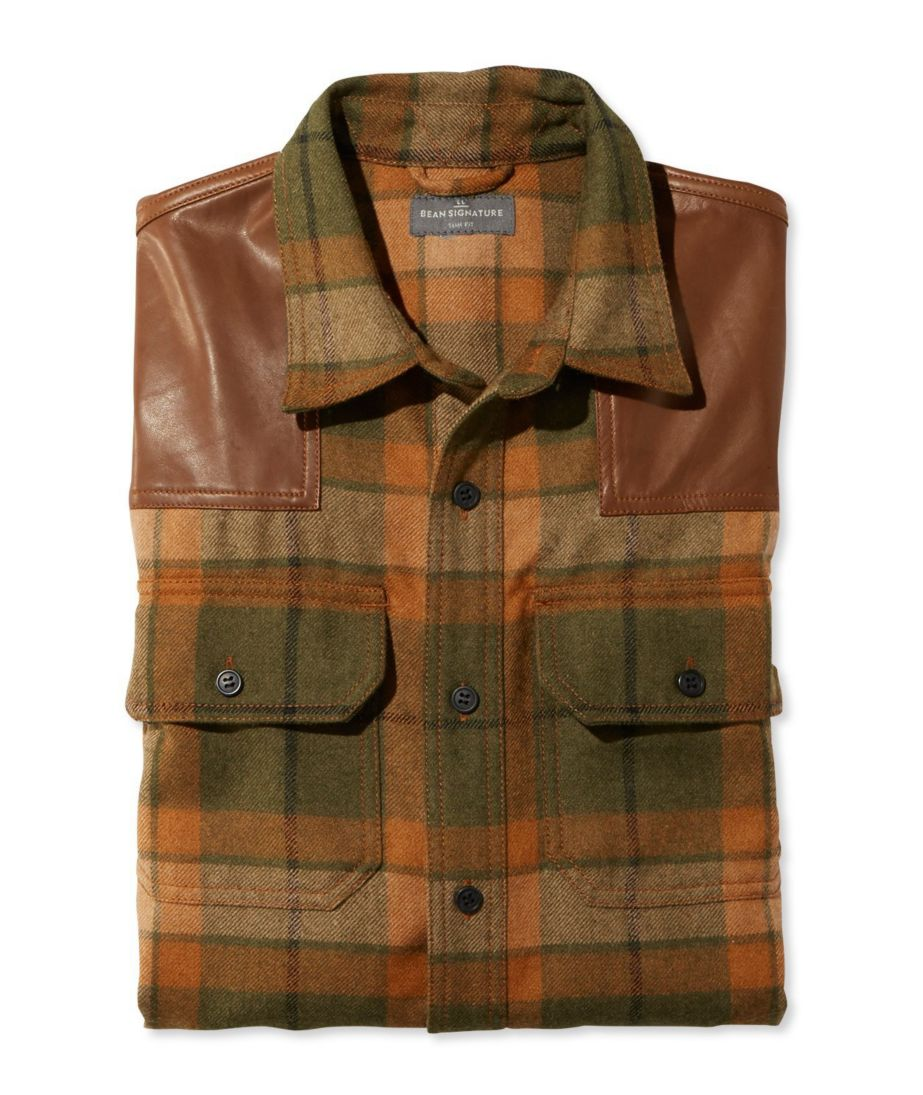 Signature Wool/Leather Shirt, Plaid