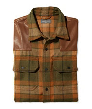 Signature Wool/Leather Shirt, Plaid