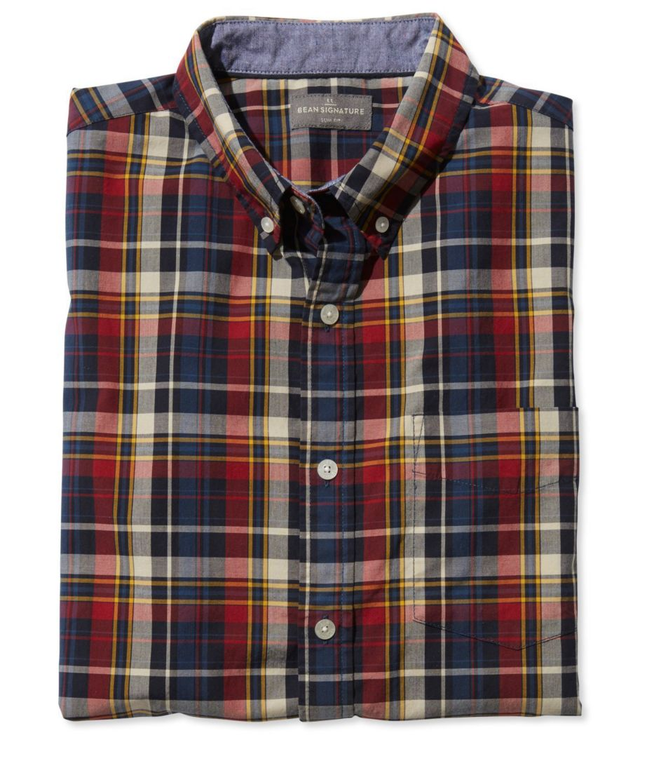 Signature Washed Poplin Shirt, Short-Sleeve Plaid