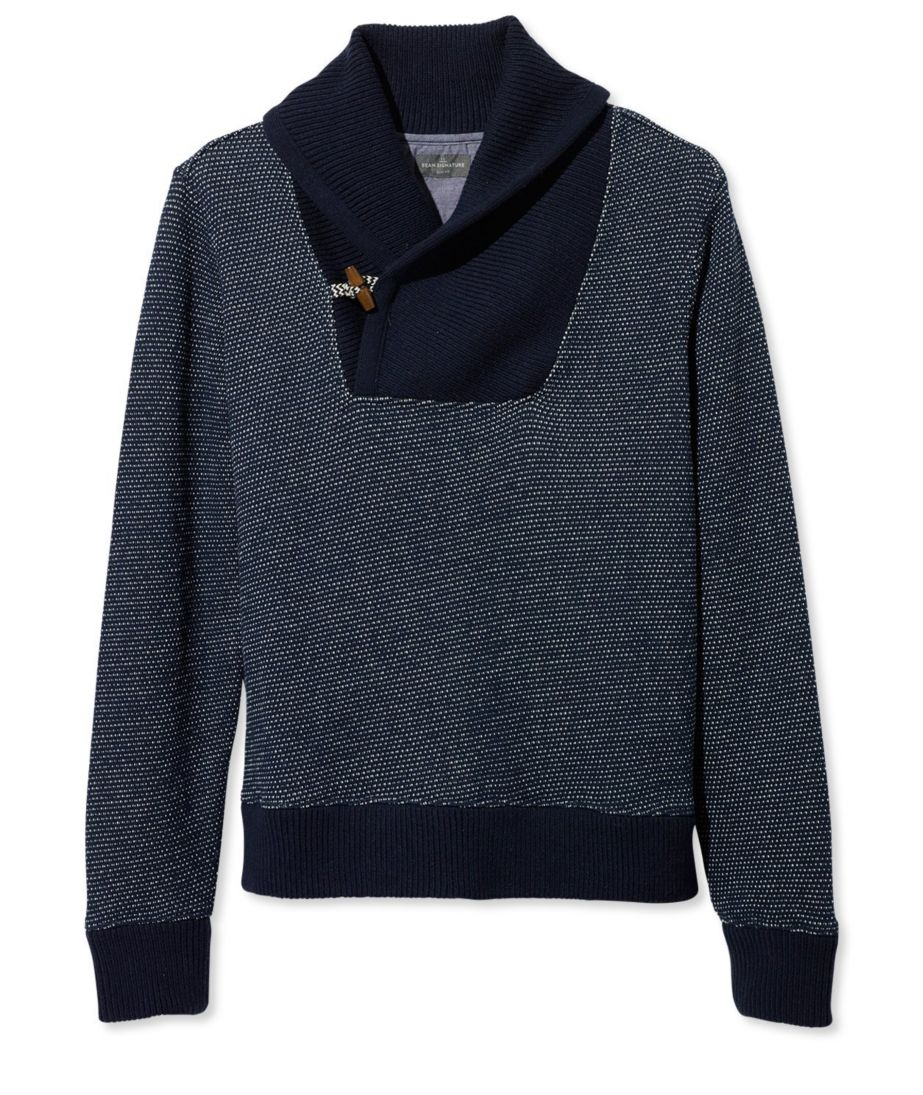 Signature Sweatshirt, Shawl Collar Bird's-Eye