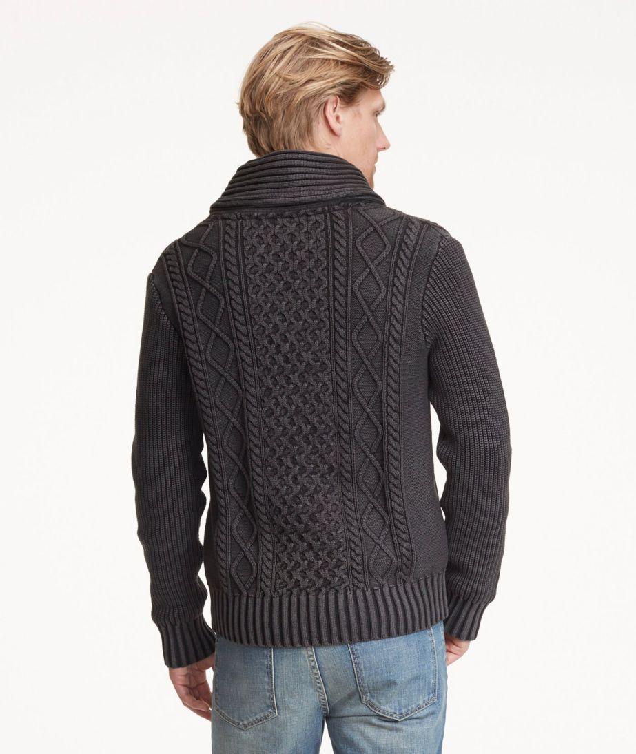 Signature Fisherman Sweater, Washed Shawl-Collar Cardigan