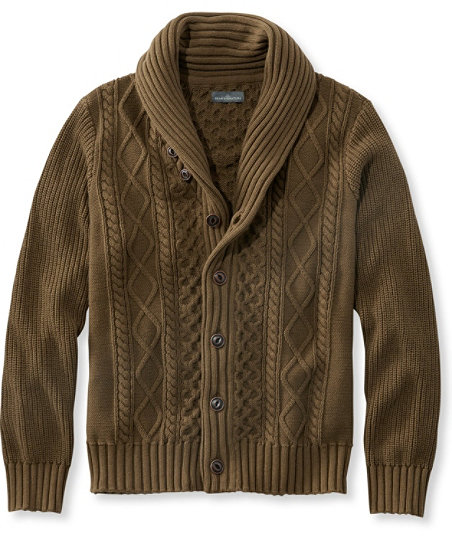 Men's Vintage Style Sweaters – 1920s to 1960s Signature Fisherman Sweater Washed Shawl-Collar Cardigan $129.00 AT vintagedancer.com