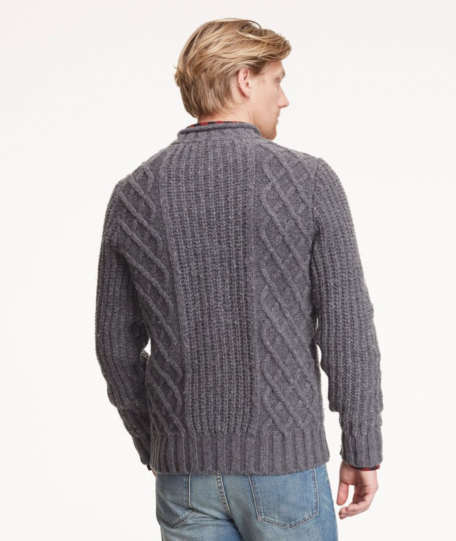 Signature Wool-Blend Fisherman Sweater, Rollneck