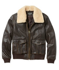 Signature Leather Jacket, Sherpa Collar