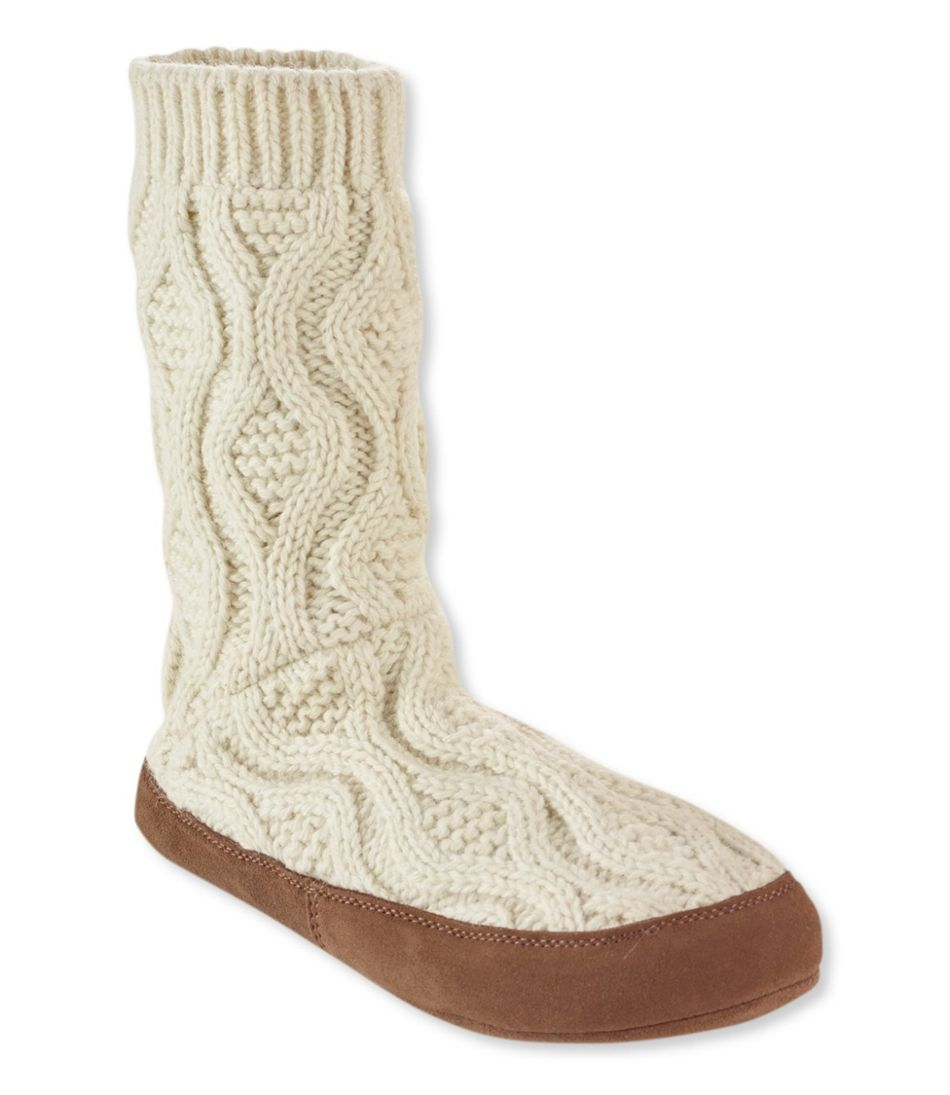 Llan Slipper Sock Cable Knit