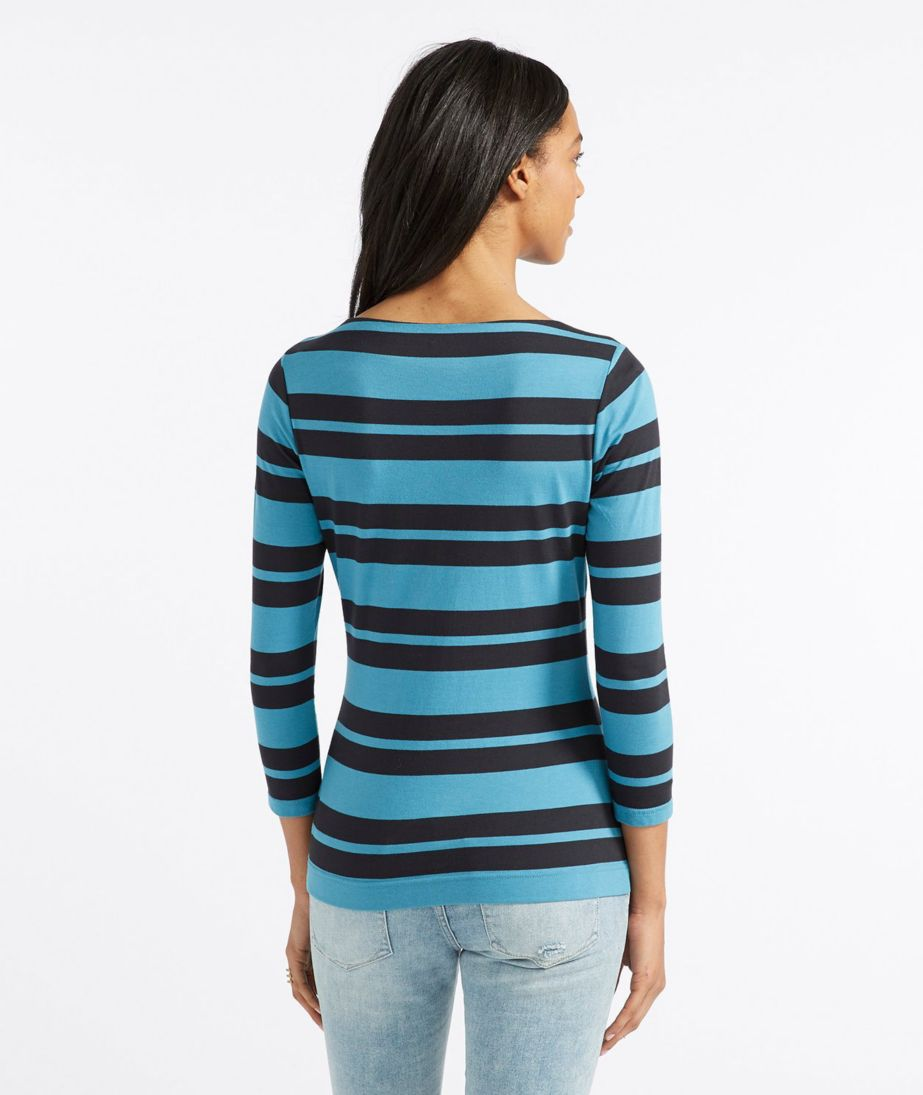 Signature Cotton/Modal Top, Three-Quarter-Sleeve Boatneck Double-Bar Stripe