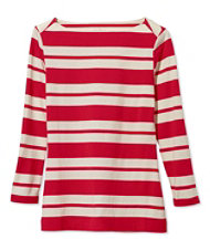 Women's Signature Cotton/Modal Top, Three-Quarter-Sleeve Boatneck Double-Bar Stripe
