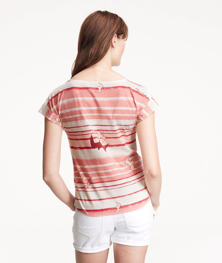 Signature Cotton/Modal Scoopneck, Short-Sleeve Bird Print