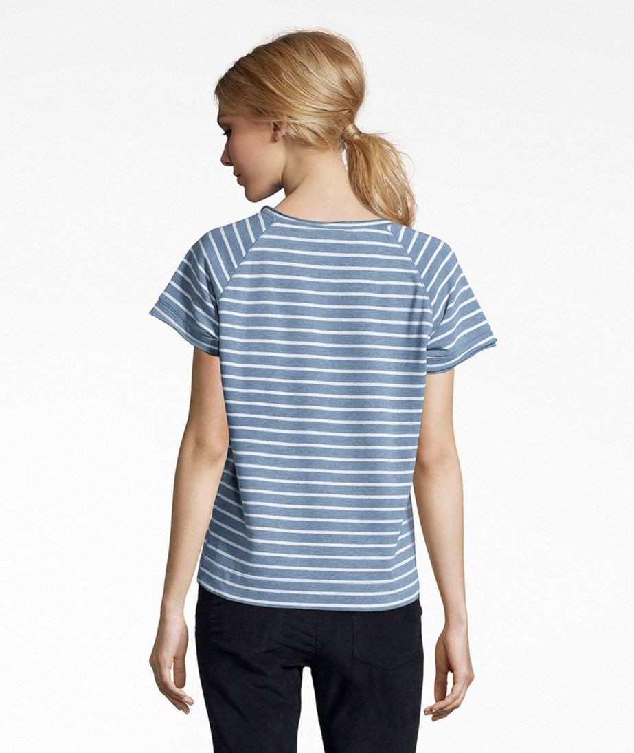 Signature Short-Sleeve Scoopneck Sweatshirt, Stripe