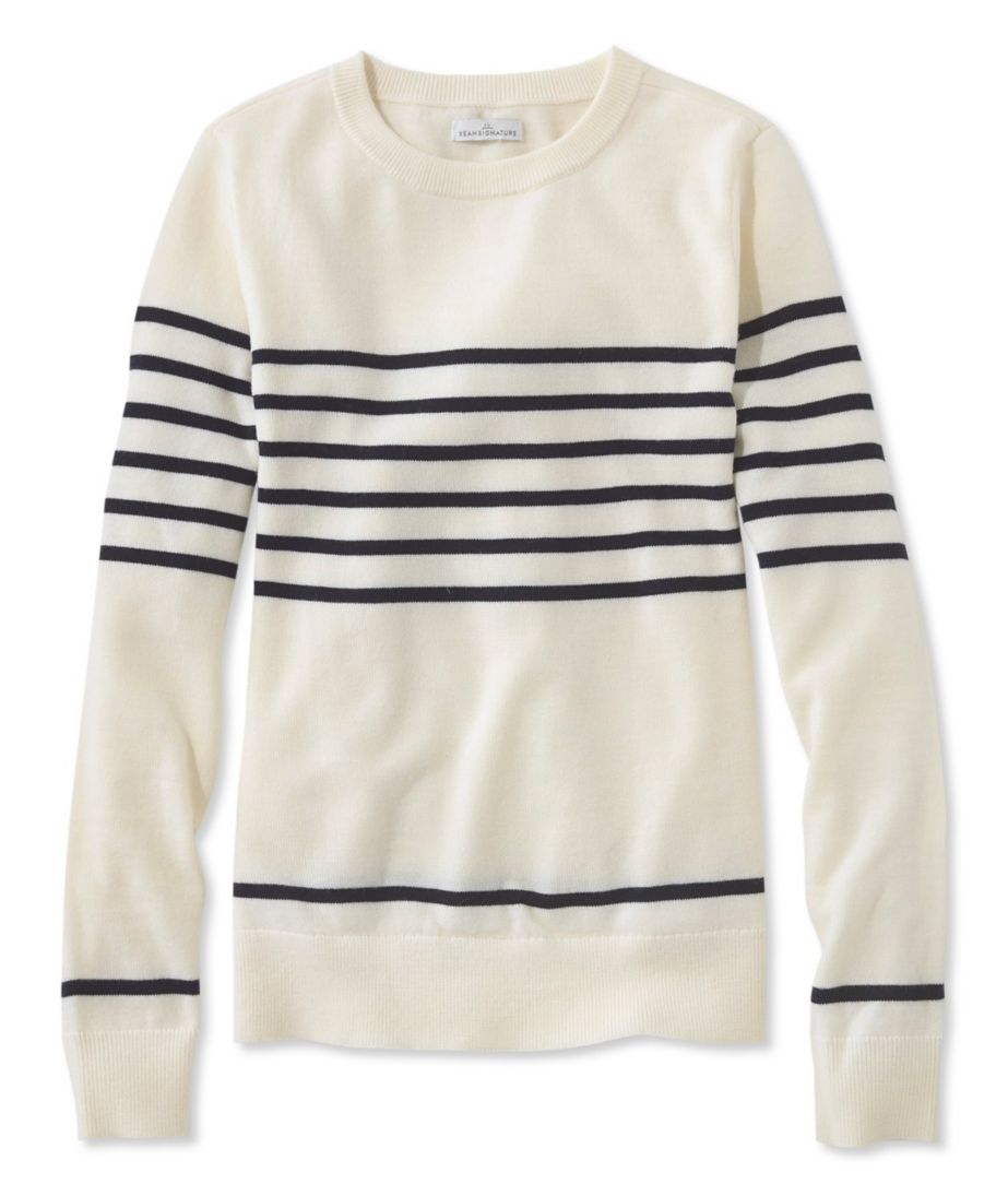 Signature Merino Crewneck Sweater, Stripe