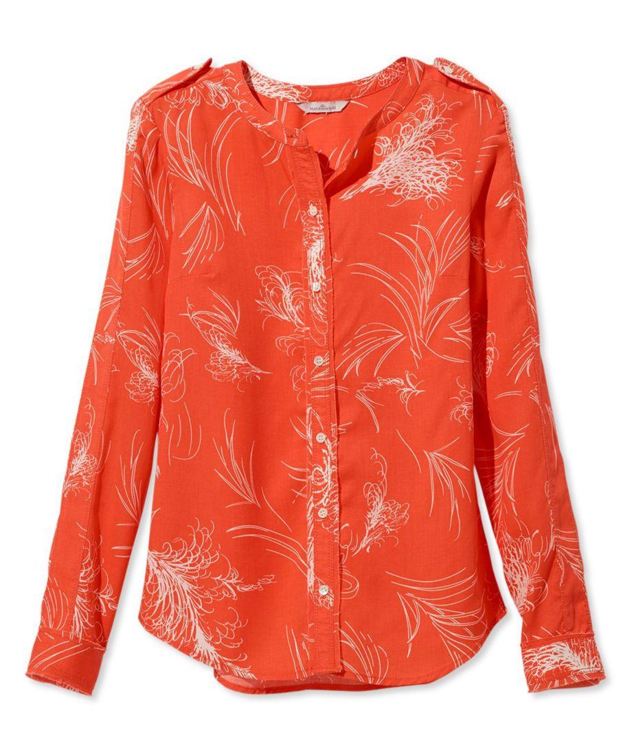 Signature Collarless Long-Sleeve Shirt, Ember Print