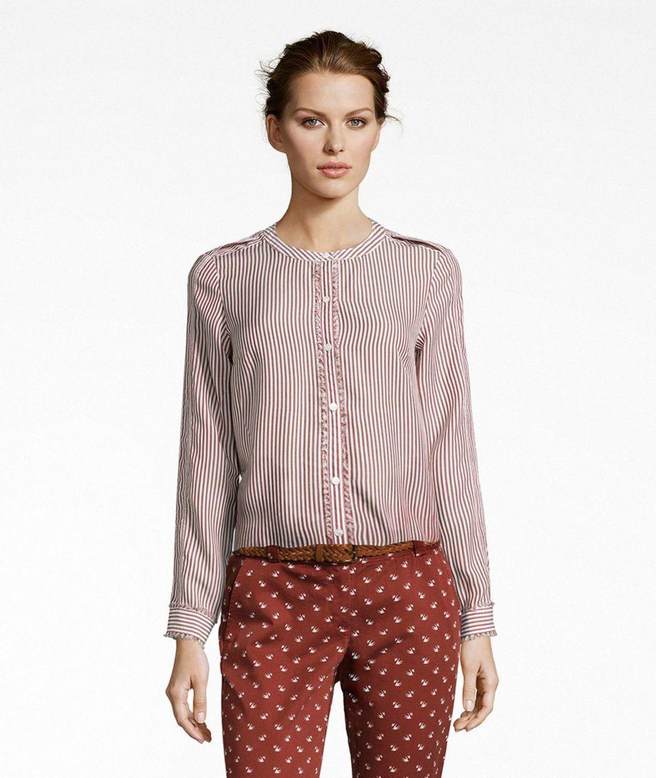 Signature Collarless Long-Sleeve Shirt, Stripe