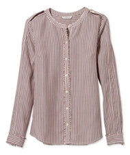 Signature Collarless Long-Sleeve Shirt, Stripe