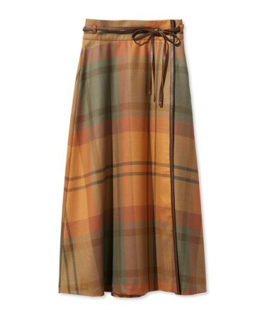 Signature Wool Wrap Skirt, Plaid