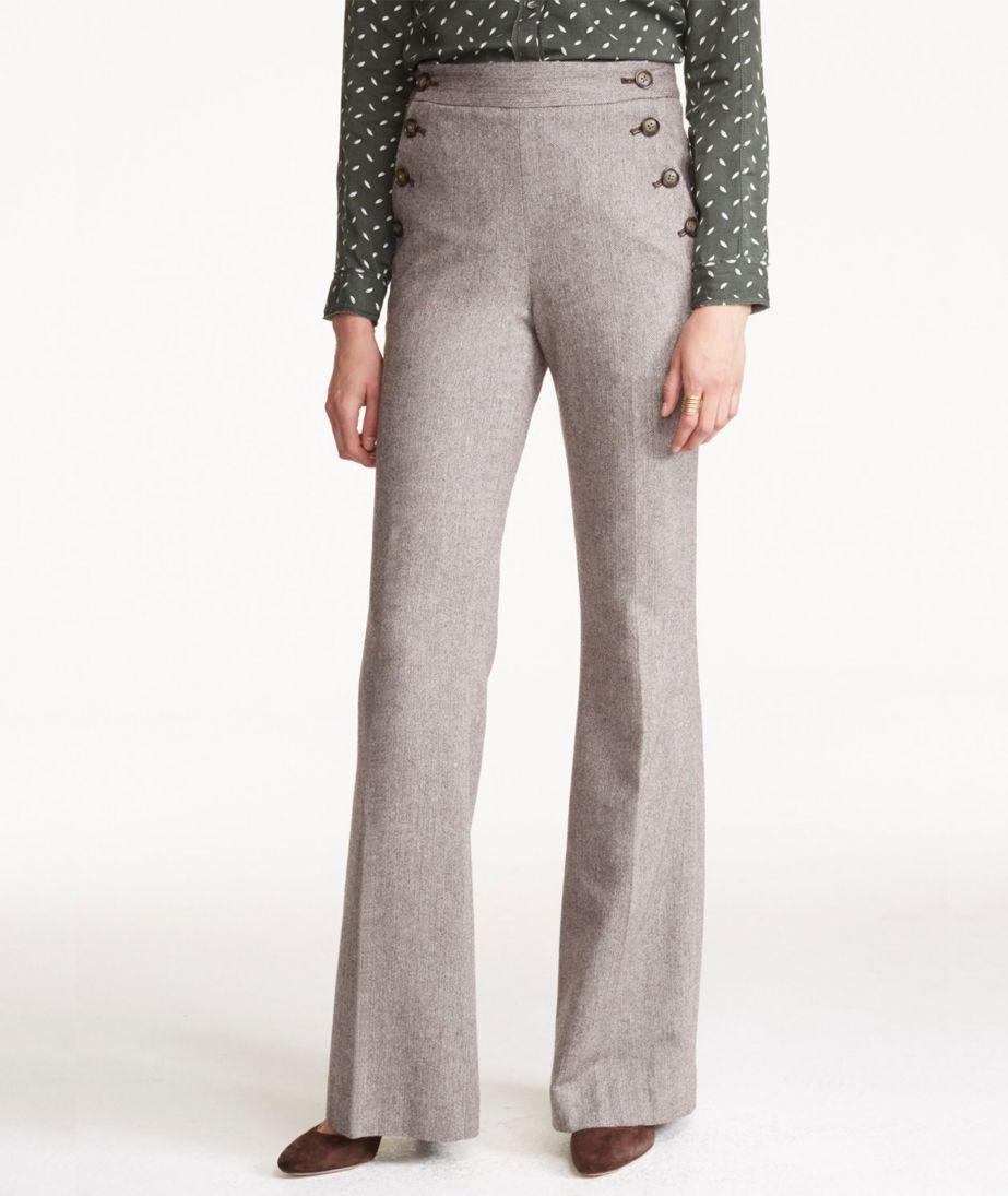 Wool Flare-Leg Pants, Herringbone