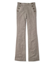 Wool Flare-Leg Pants, Herringbone