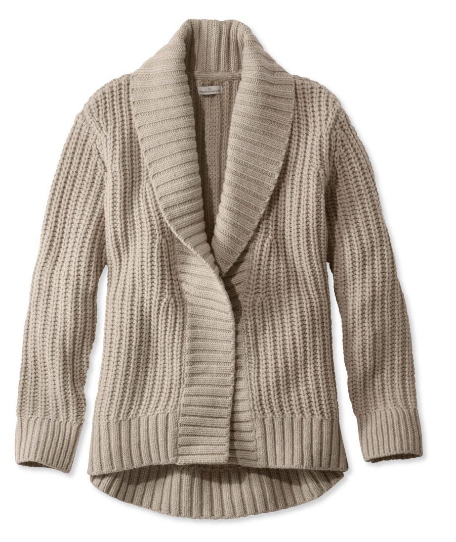Signature Shaker-Stitch Wool Cardigan