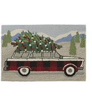 Indoor/Outdoor Vacationland Rug, Wagon with Tree