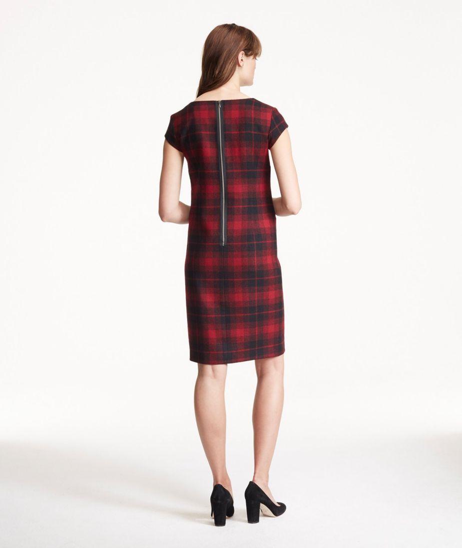 Signature Wool Sheath Dress, Plaid