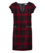 Signature Wool Sheath Dress, Plaid