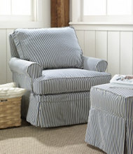 Slipcovered Swivel Glider, Classic Stripe