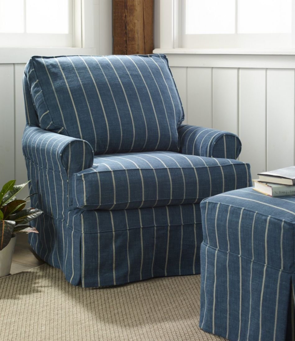 Slipcovered Swivel Glider, Stripe