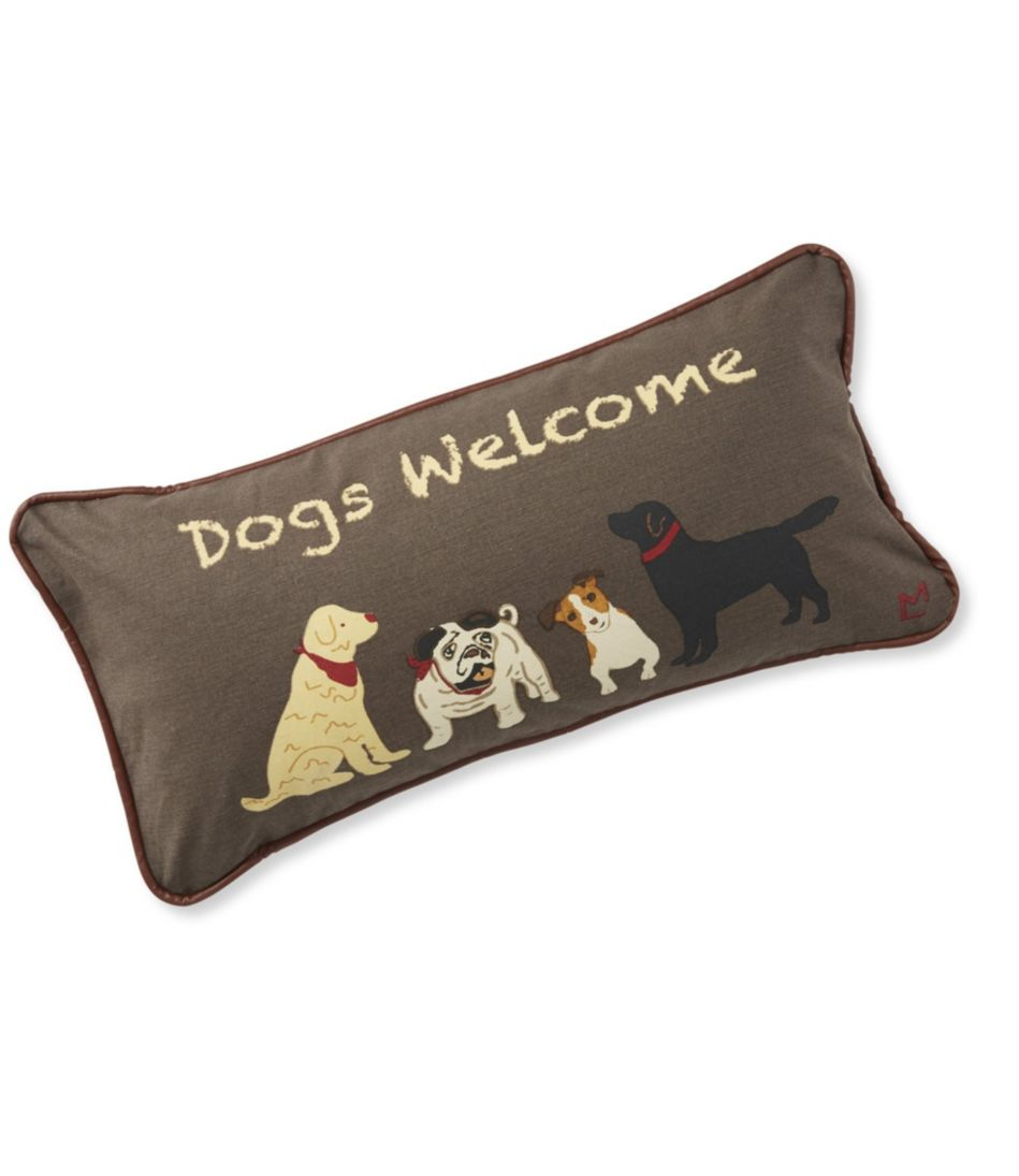 Canvas Throw Pillow, Dogs Welcome