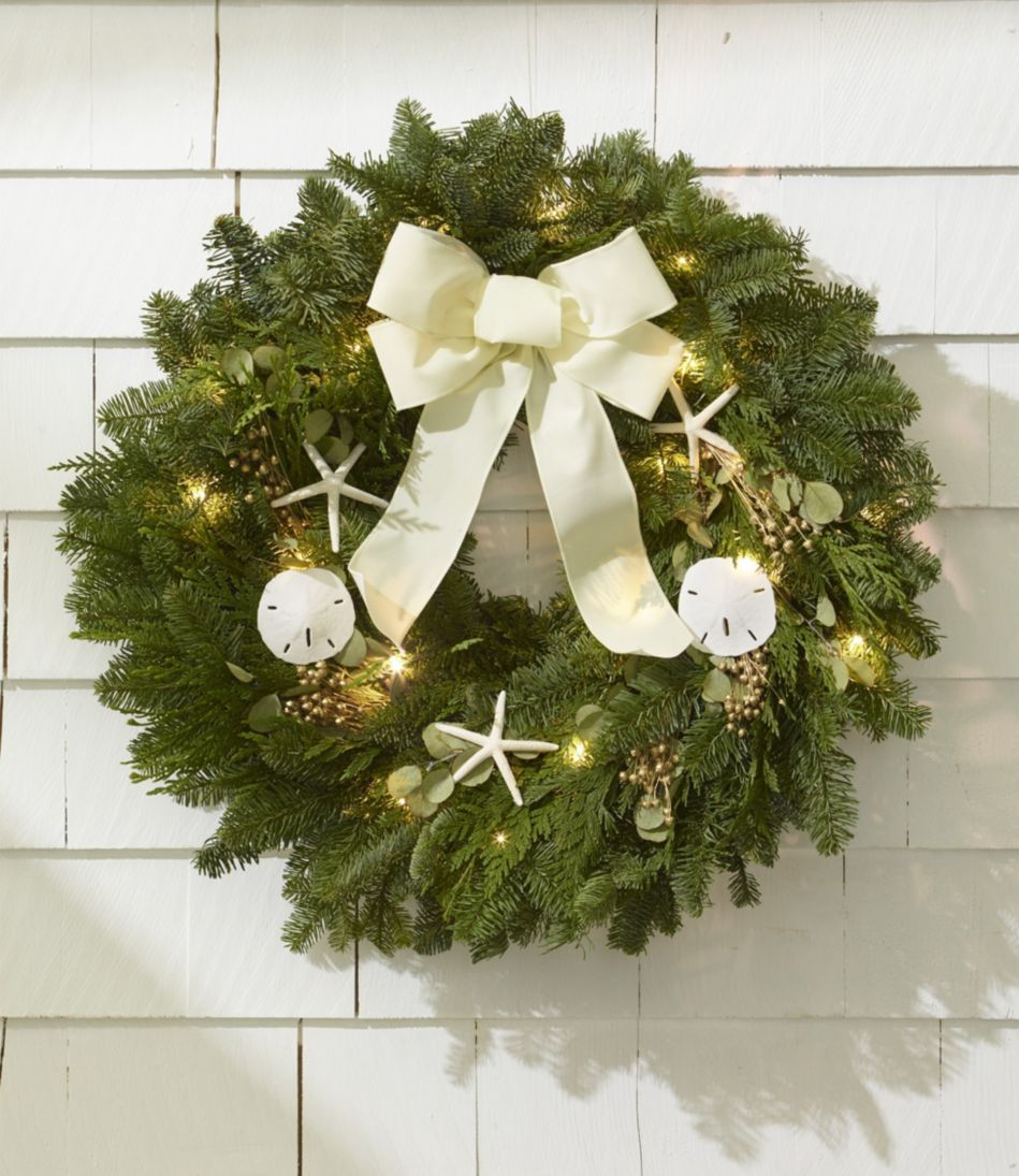 "Coastal Evergreen Christmas Wreath, Lighted 24"""
