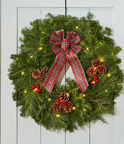 Tartan Christmas Fir Wreath, Lighted