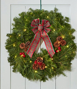 Tartan Christmas Fir Wreath, Lighted, 24""