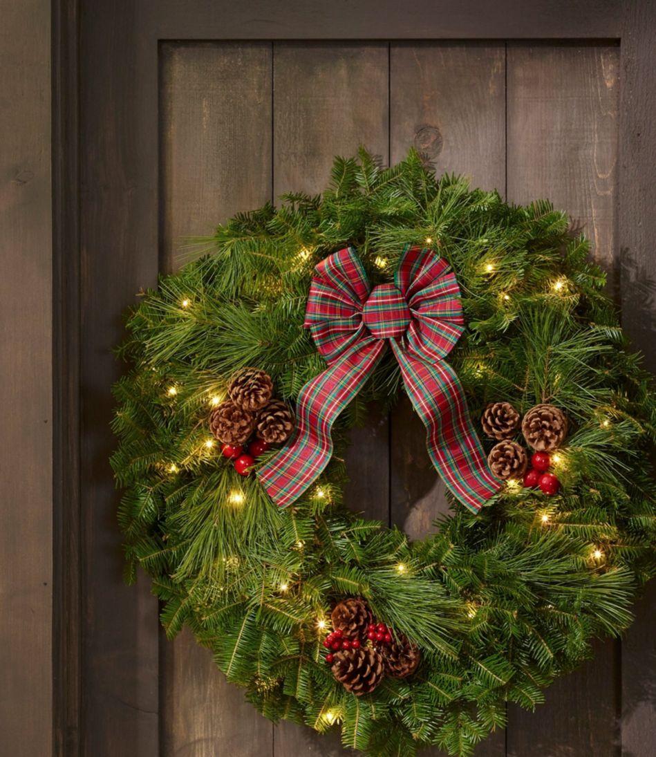 Tartan Christmas Fir Wreath, Lighted