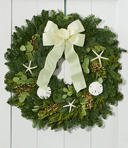 Coastal Evergreen Christmas Wreath, 24""