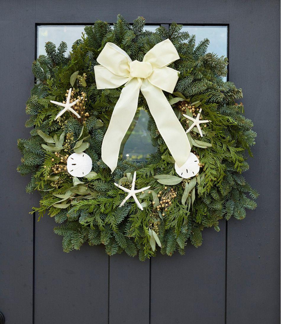 "Coastal Evergreen Christmas Wreath, 24"""