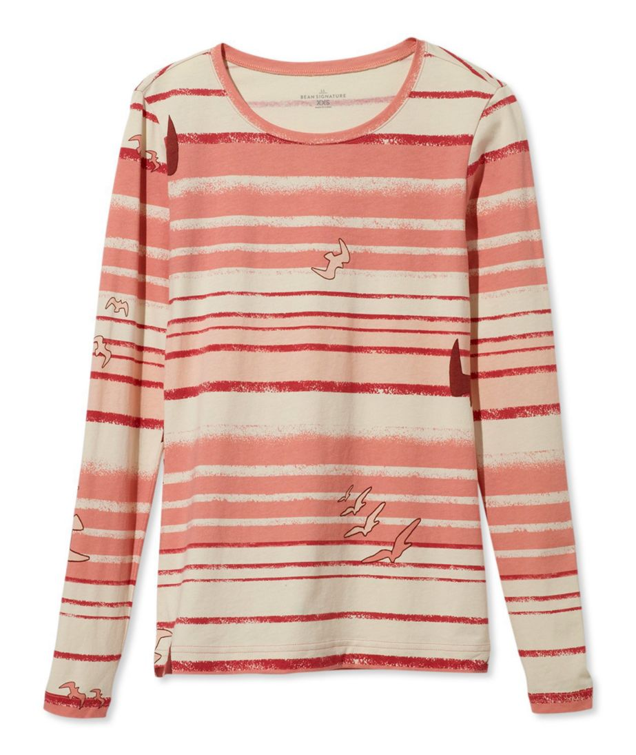 Signature Cotton/Modal Crewneck Shirt, Long-Sleeve Bird Print